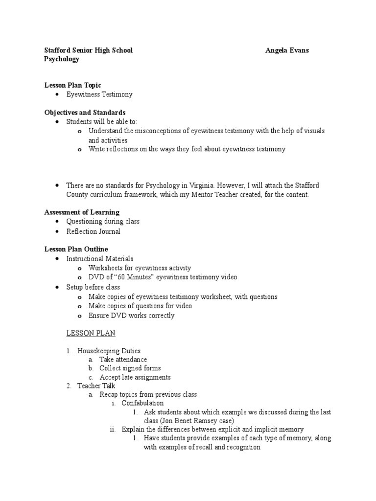 Psychology Worksheets for Highschool Students Lesson Plan 9 25 15 Lesson Plan