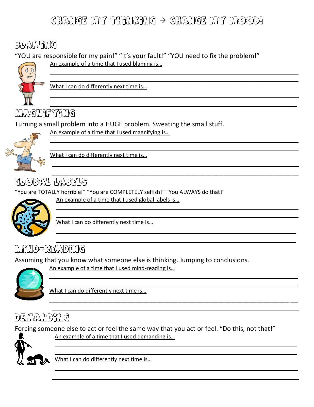 Psychology Worksheets for Highschool Students Ot Mental Health Worksheets Printables