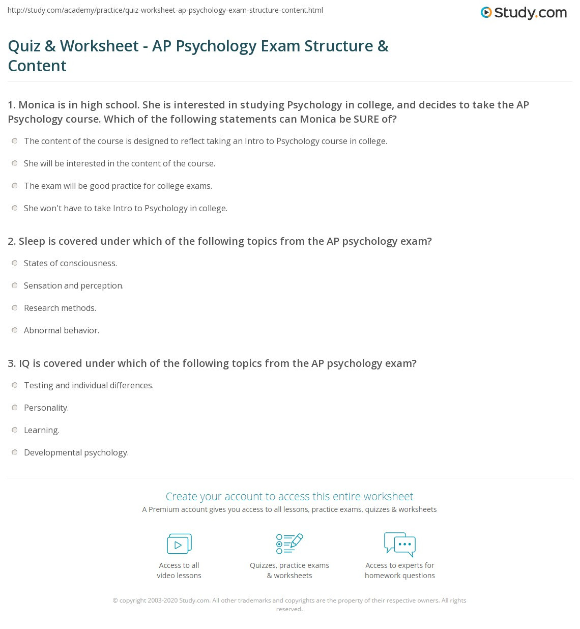 Psychology Worksheets for Highschool Students Quiz & Worksheet Ap Psychology Exam Structure & Content