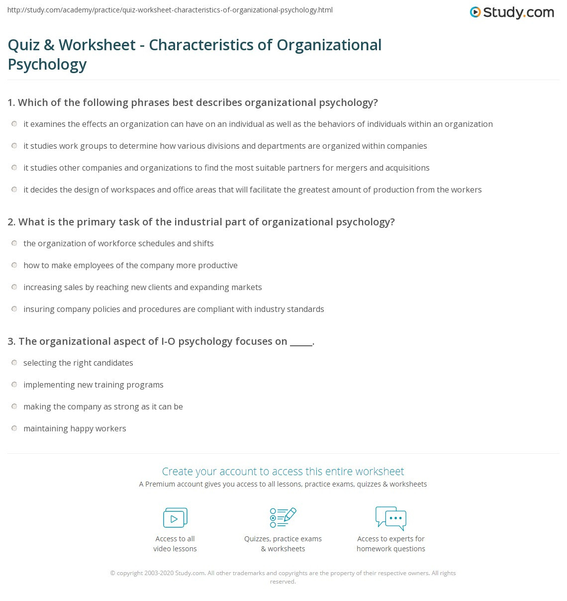 Psychology Worksheets for Highschool Students Quiz & Worksheet Characteristics Of organizational