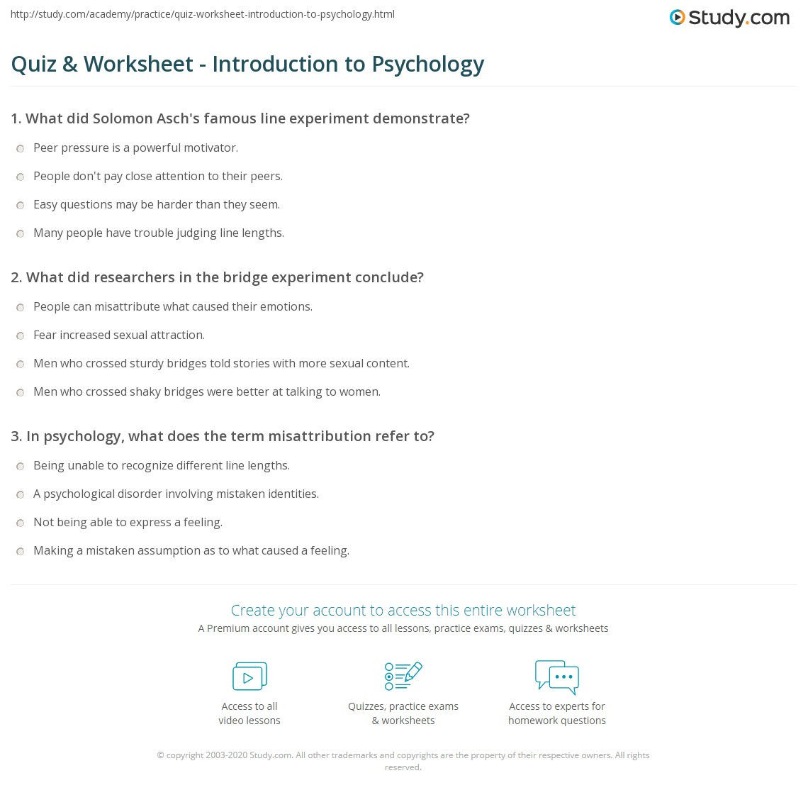 Psychology Worksheets for Highschool Students Quiz & Worksheet Introduction to Psychology
