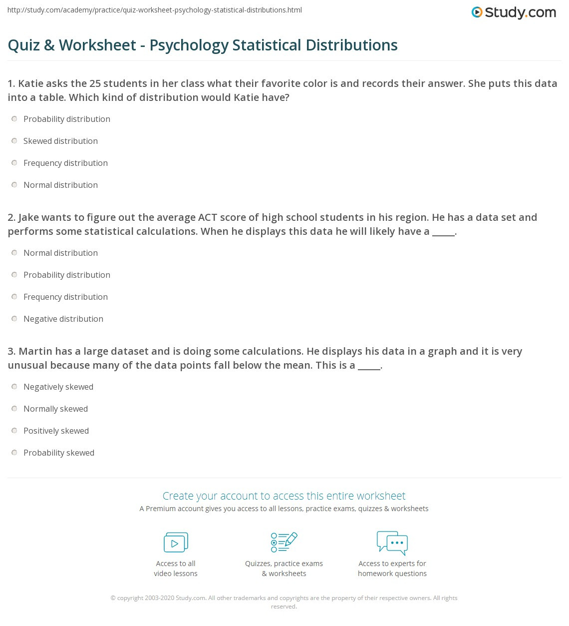 Psychology Worksheets for Highschool Students Quiz & Worksheet Psychology Statistical Distributions