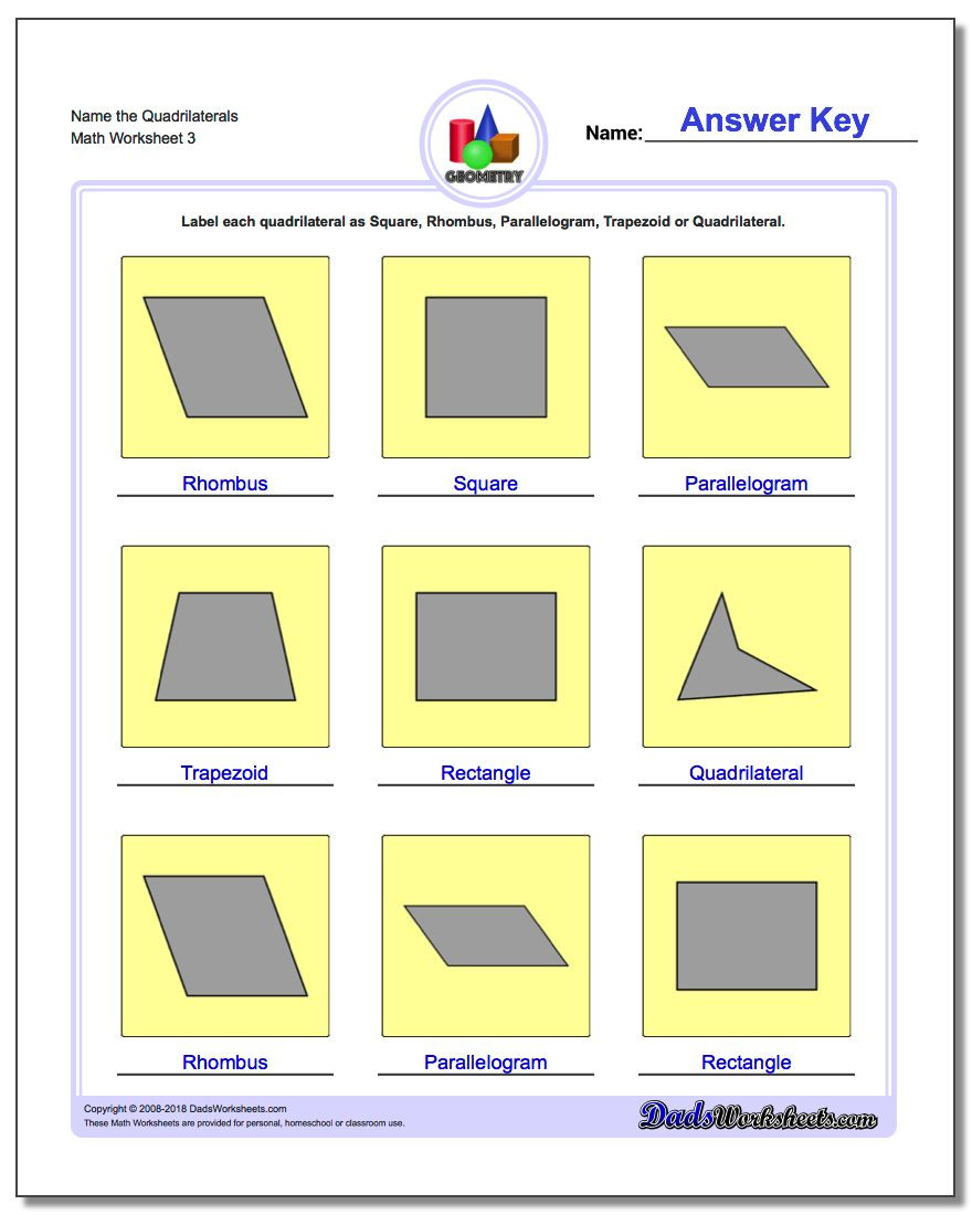 Quadrilaterals 3rd Grade Worksheets Basic Shapes