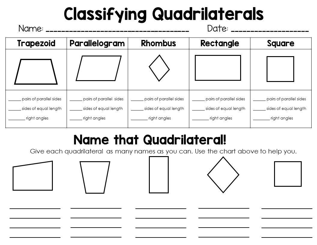 Quadrilaterals 3rd Grade Worksheets Classifying 2d Shapes Polygons Triangles & Quadrilaterals