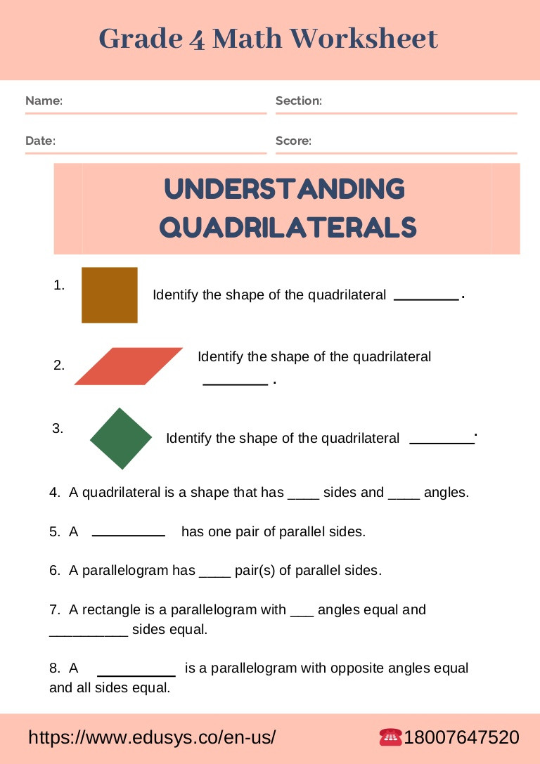 Quadrilaterals 3rd Grade Worksheets Worksheet Maths for Grade Image Ideas 4thath Worksheet