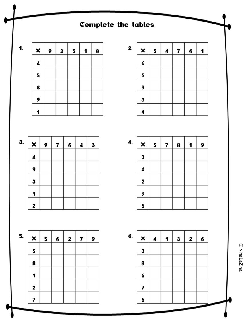 Ratio Tables 6th Grade Worksheets Ninalazina Mixed Times Tables Worksheets Free Upload Pr