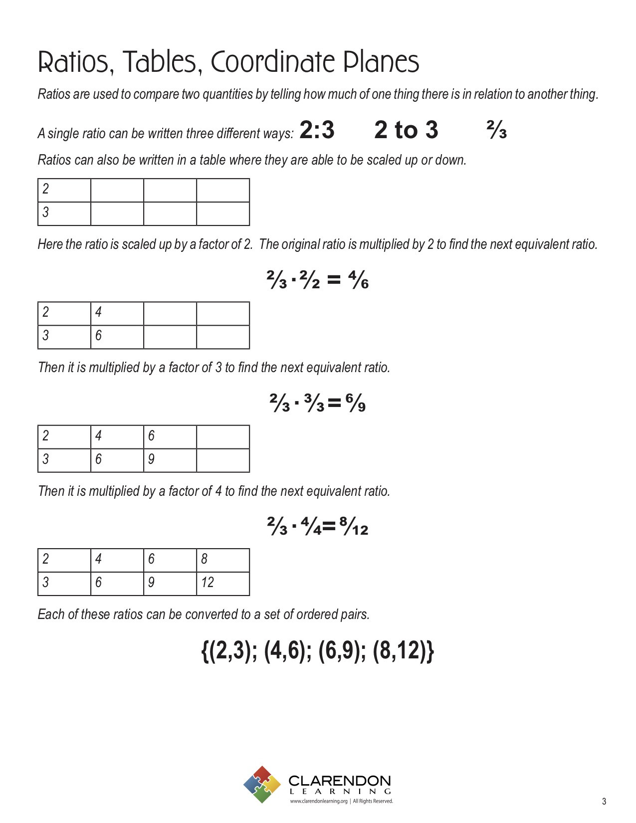 Ratio Tables 6th Grade Worksheets Ratios Tables Coordinate Planes Lesson Plan