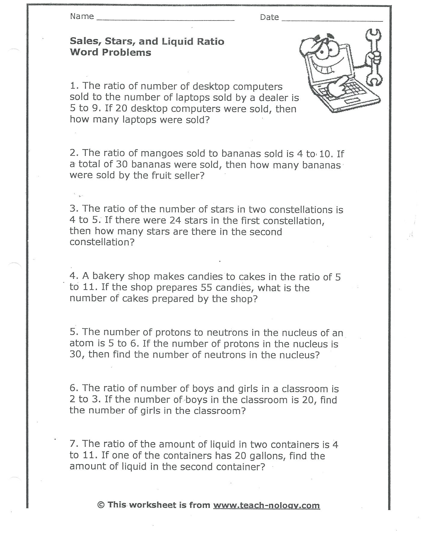Ratio Worksheets 6th Grade Ratios and Rates Worksheet Promotiontablecovers