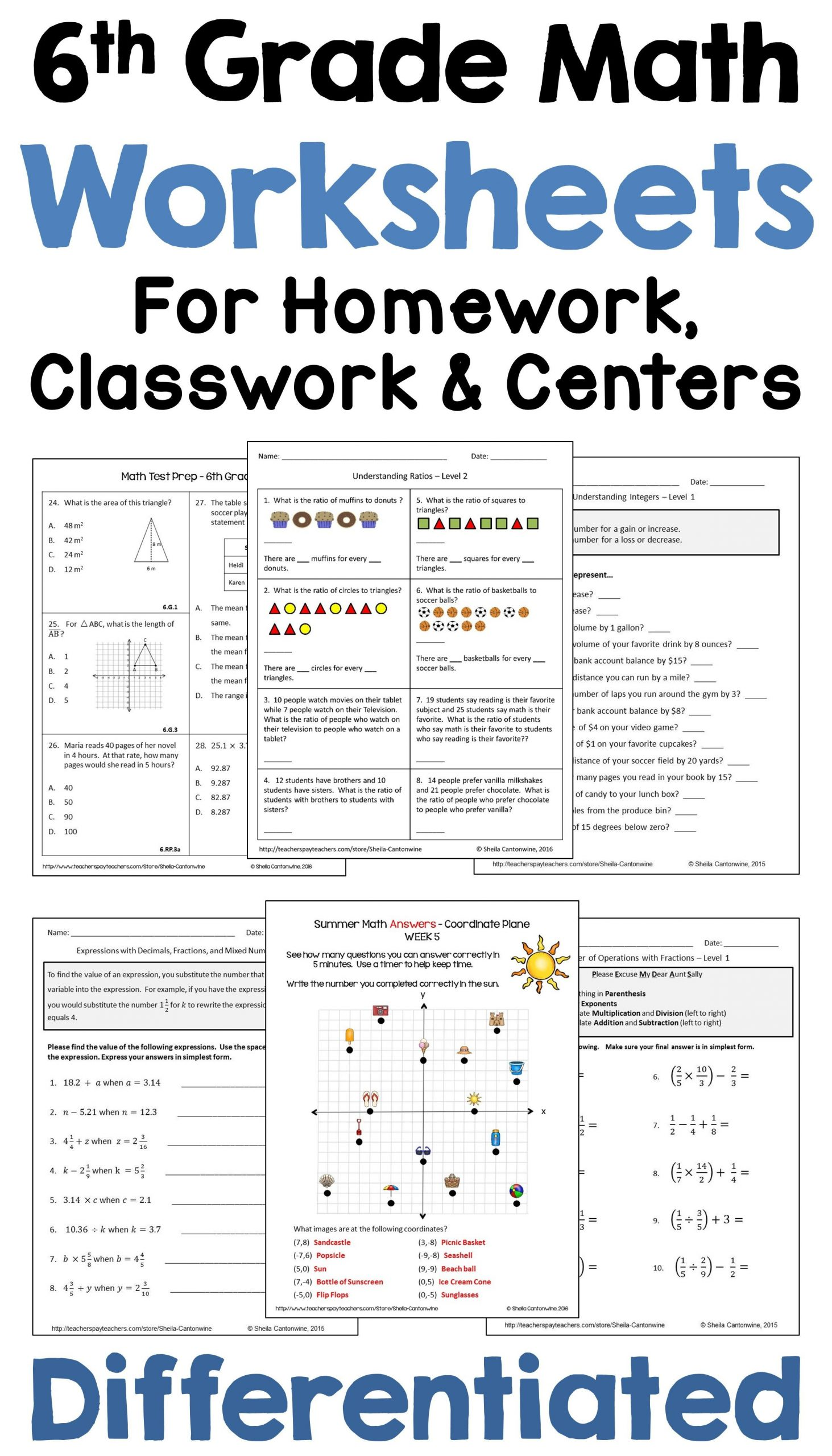 Ratio Worksheets 6th Grade Sixth Grade Math Worksheets Mon Core