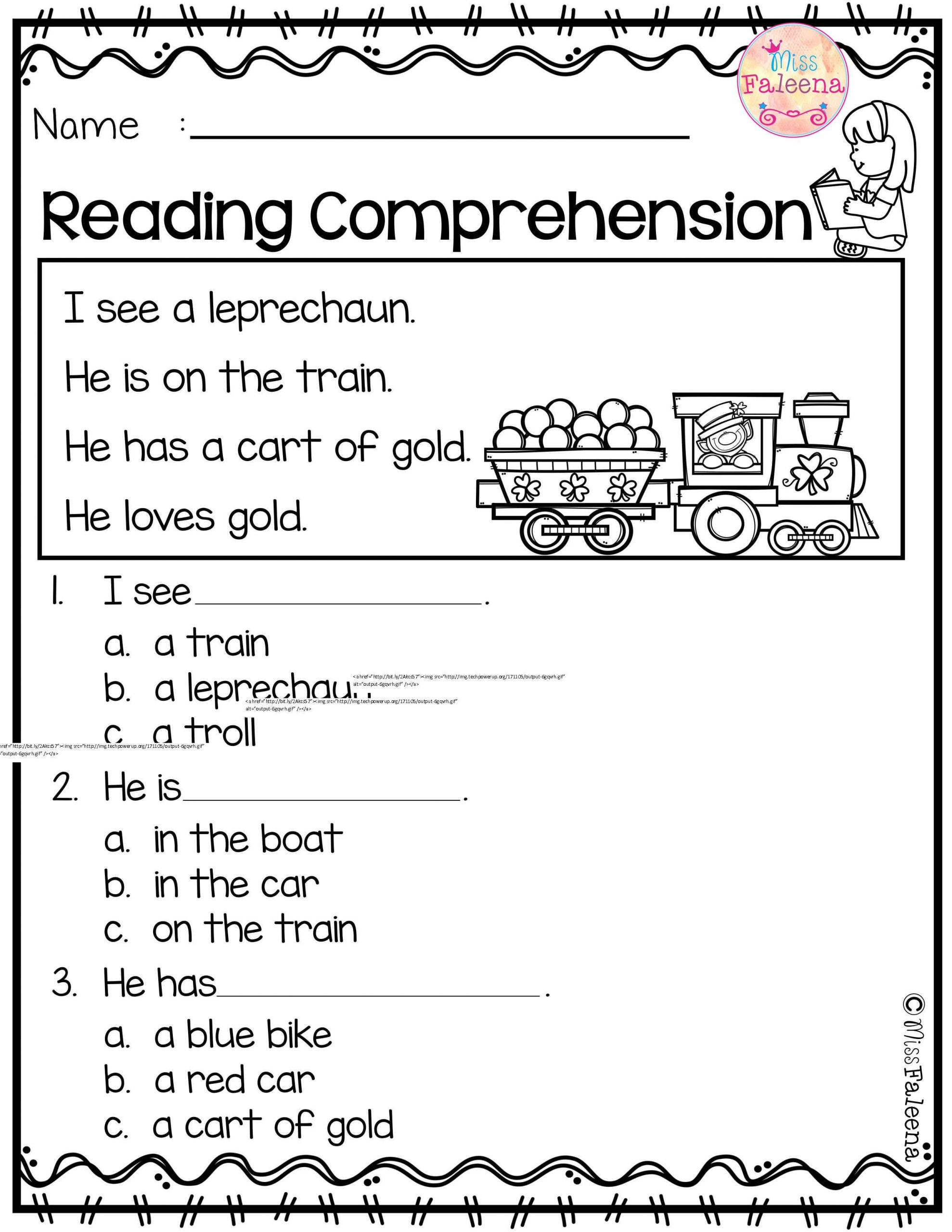 Reading Comprehension Kindergarten Worksheets Free March Reading Prehension