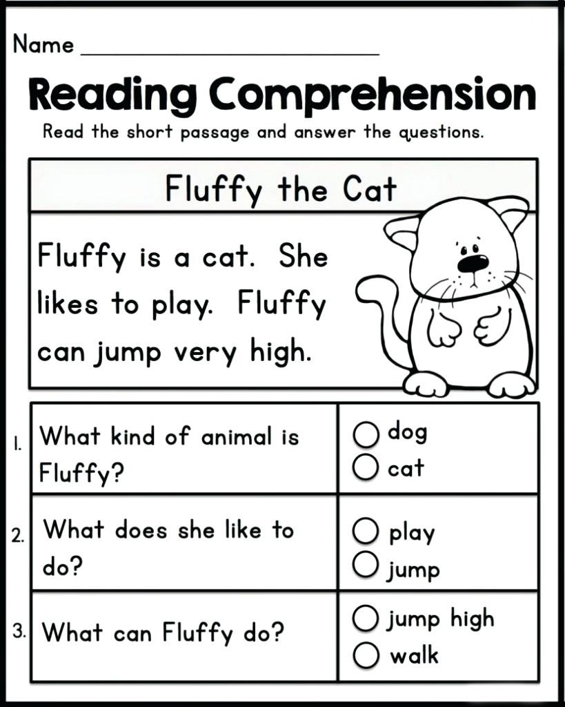 Reading Comprehension Kindergarten Worksheets Free Math Worksheet Reading Prehension Kindergarten English