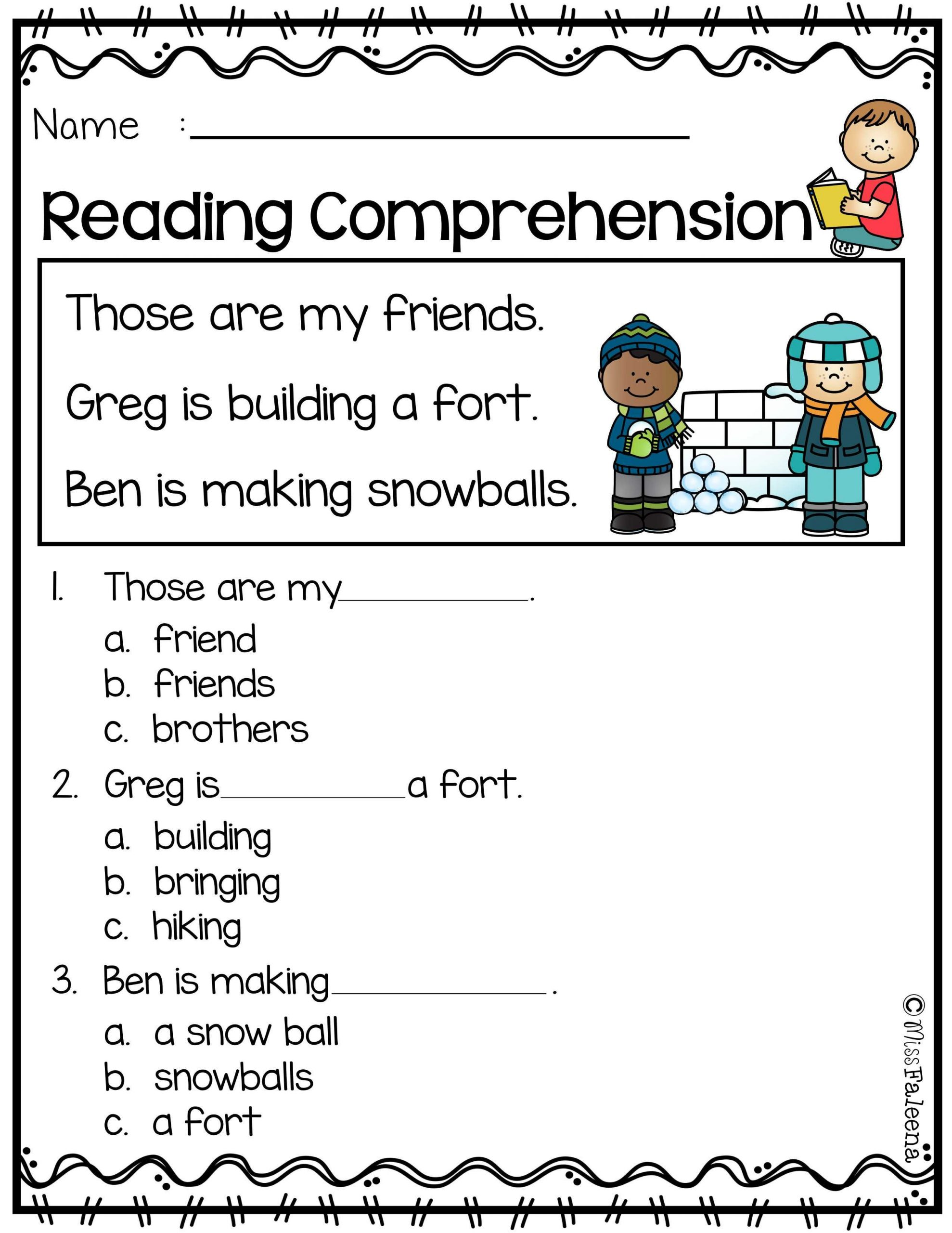Reading Comprehension Worksheets Kindergarten January Reading Prehension
