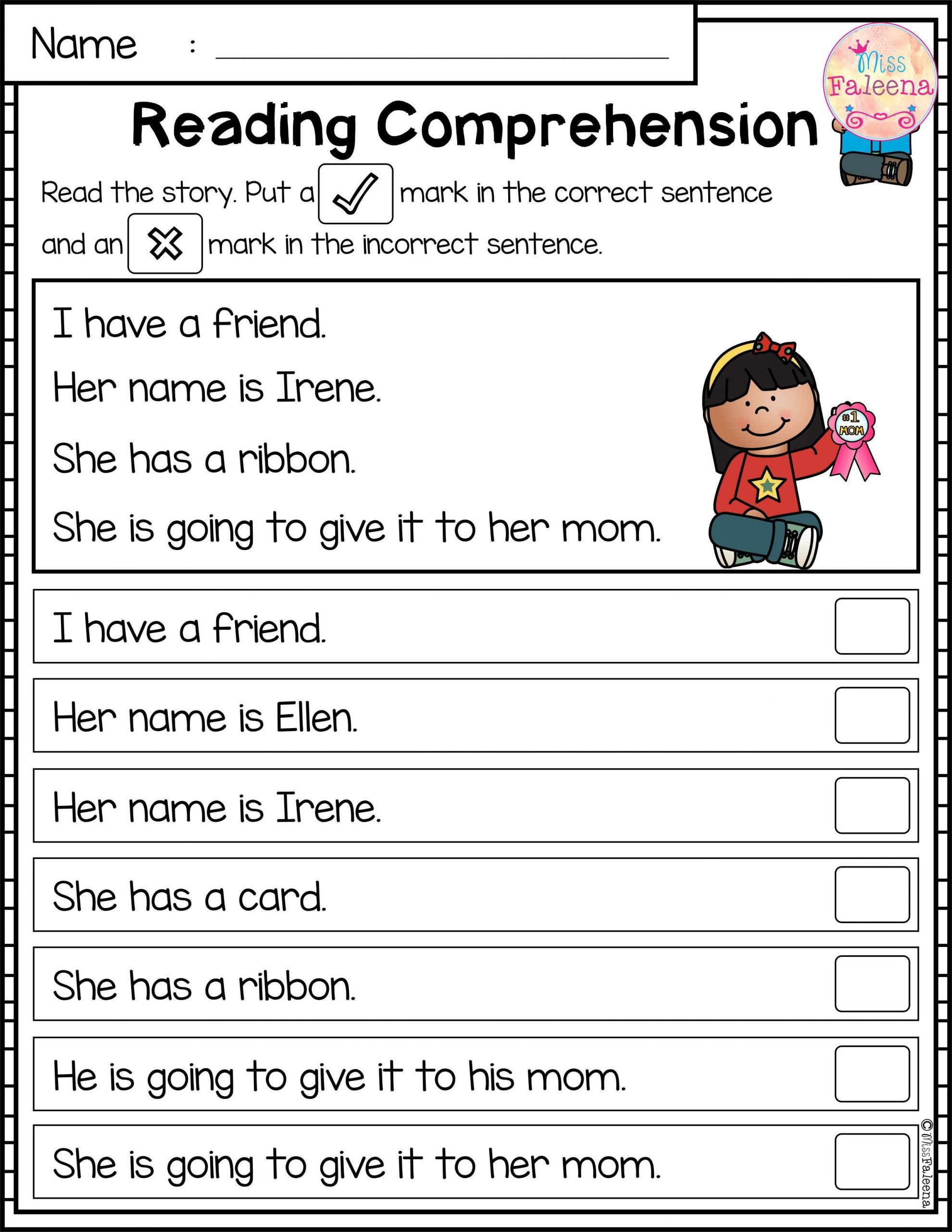 Reading Comprehension Worksheets Kindergarten May Reading Prehension Passages is Suitable for