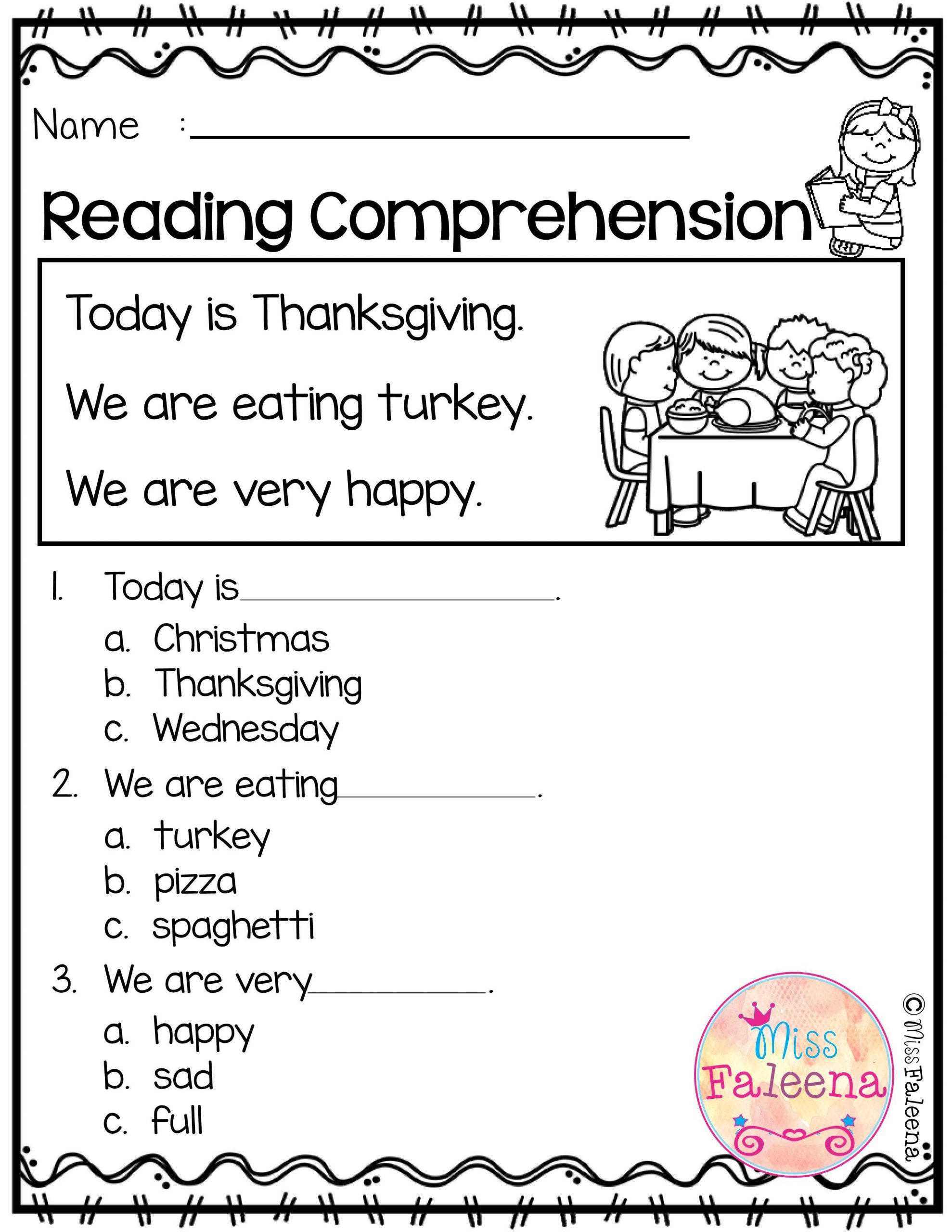 Reading Comprehension Worksheets Kindergarten November Reading Prehension