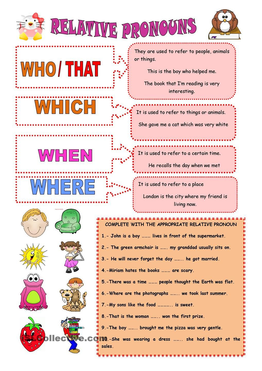 Relative Pronouns Worksheet 4th Grade Relative Pronouns