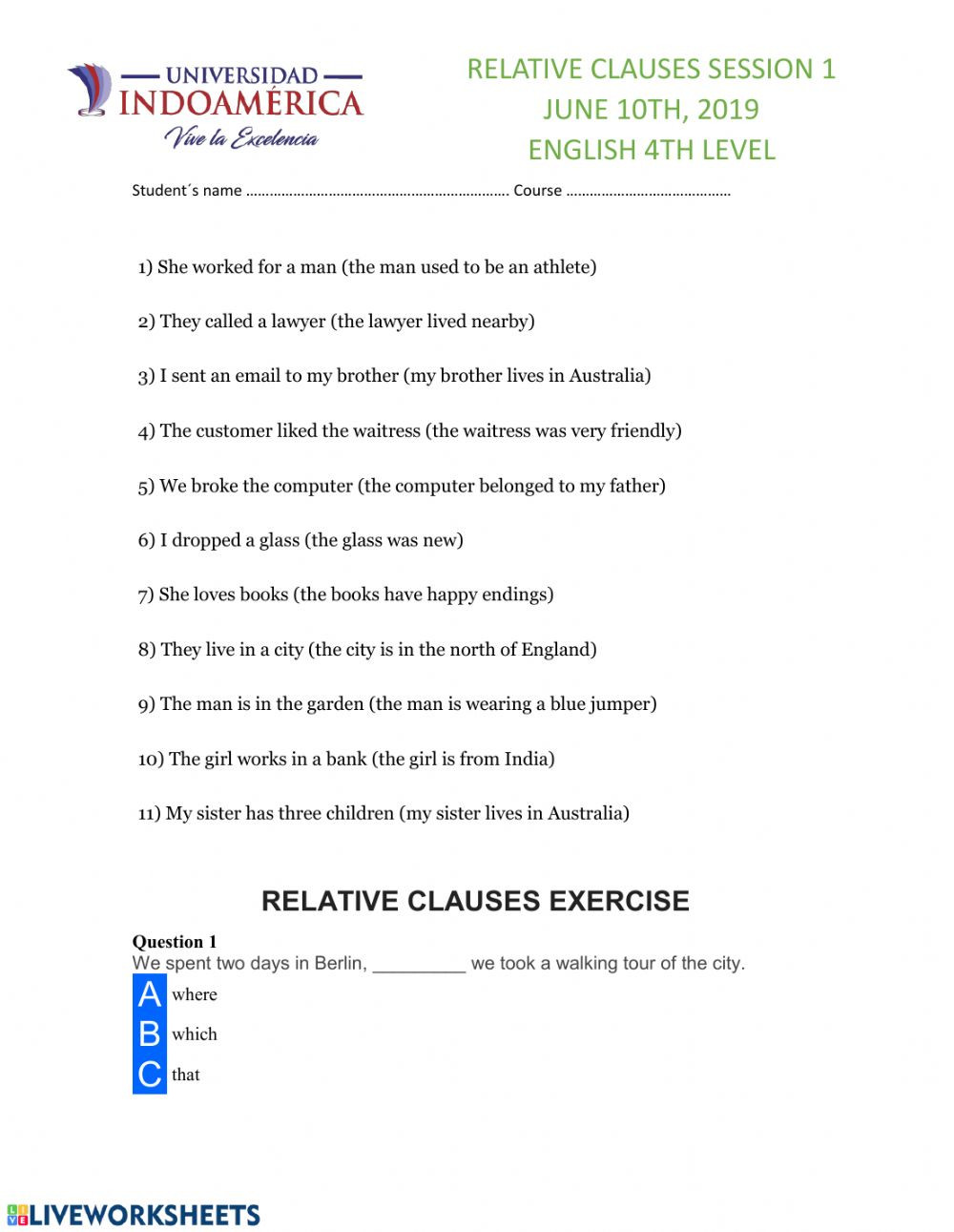 Relative Pronouns Worksheets 4th Grade Relative Clauses Online Worksheet and Pdf