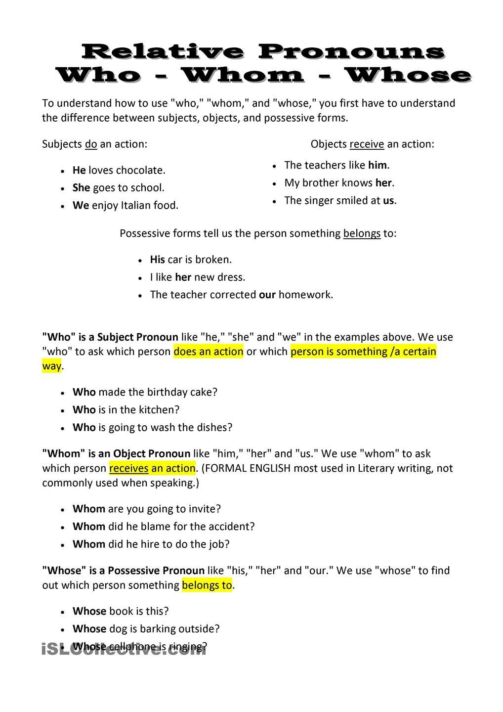 Relative Pronouns Worksheets 4th Grade Relative Pronouns who whom whose