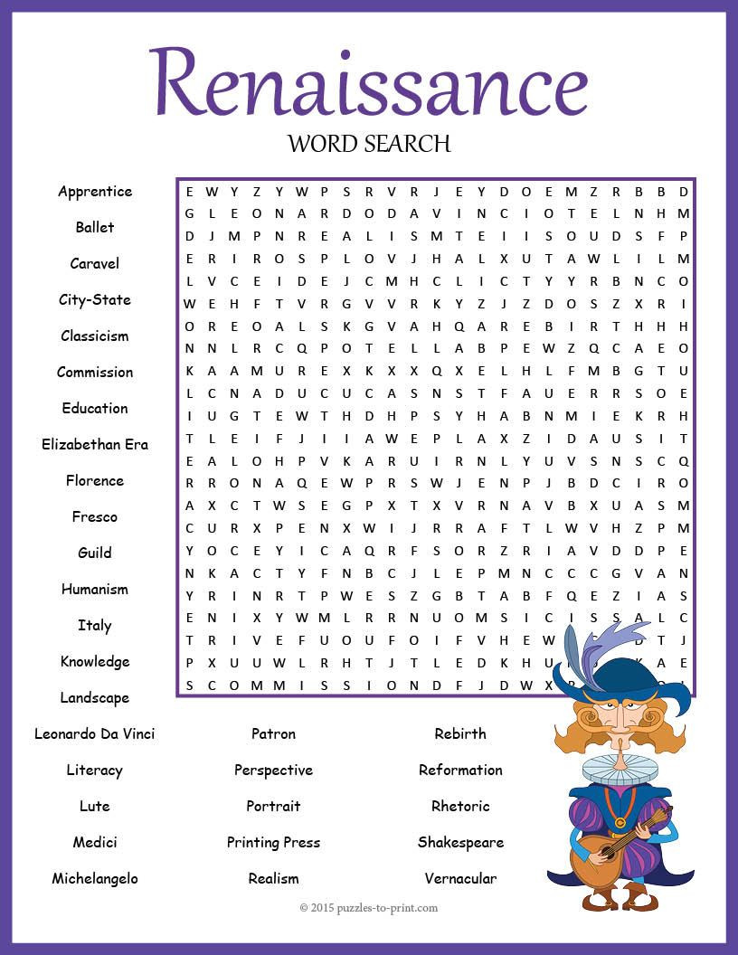 Renaissance Worksheets for Middle School A Fun Word Search to Use when Studying A Unit On the