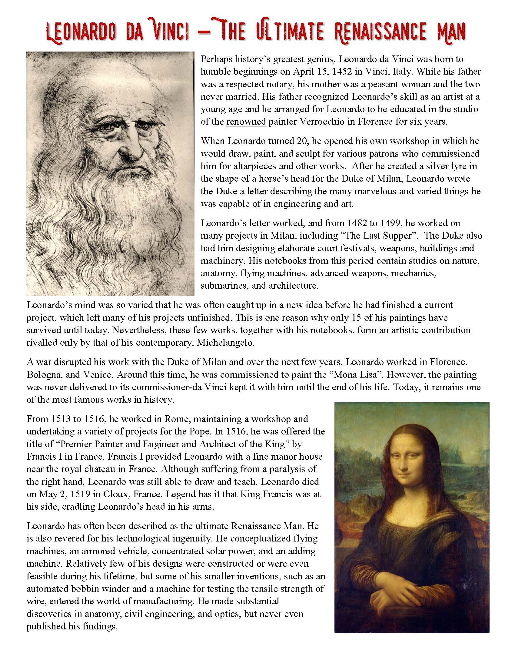 Renaissance Worksheets for Middle School Leonardo Da Vinci Reading and Interactive Notebook Activity