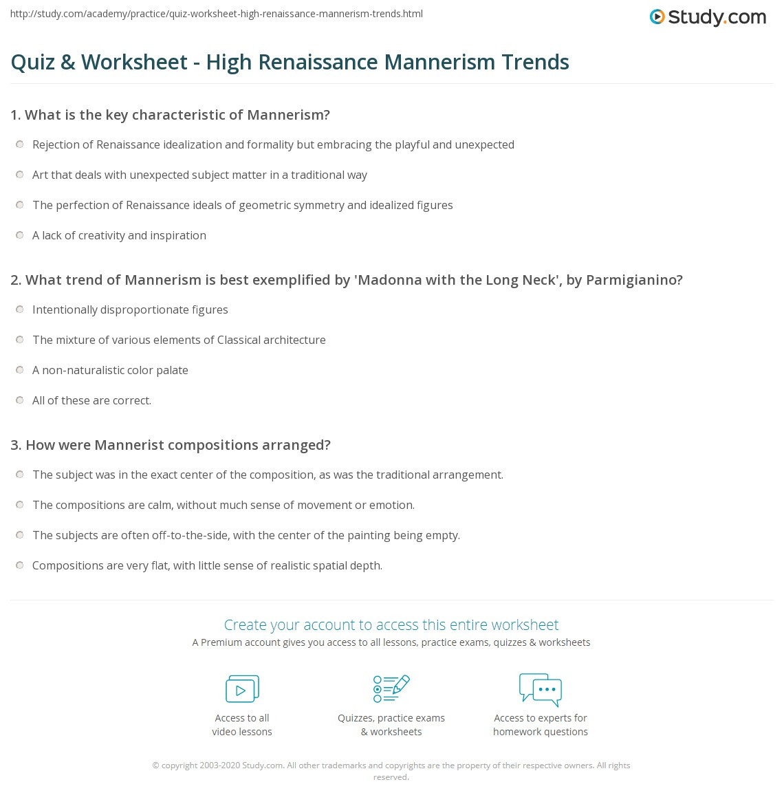Renaissance Worksheets for Middle School Quiz & Worksheet High Renaissance Mannerism Trends