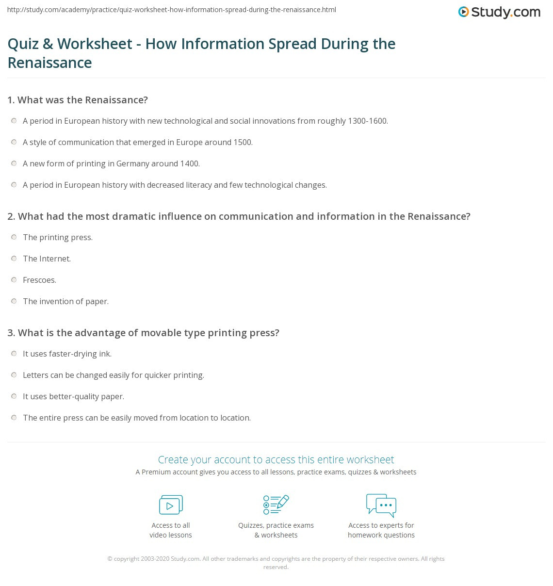Renaissance Worksheets for Middle School Quiz & Worksheet How Information Spread During the