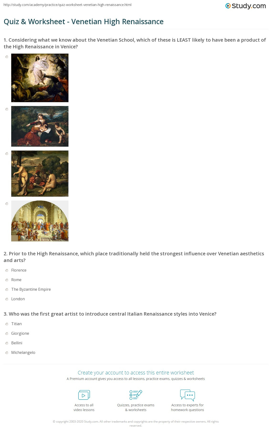 Renaissance Worksheets for Middle School Quiz & Worksheet Venetian High Renaissance