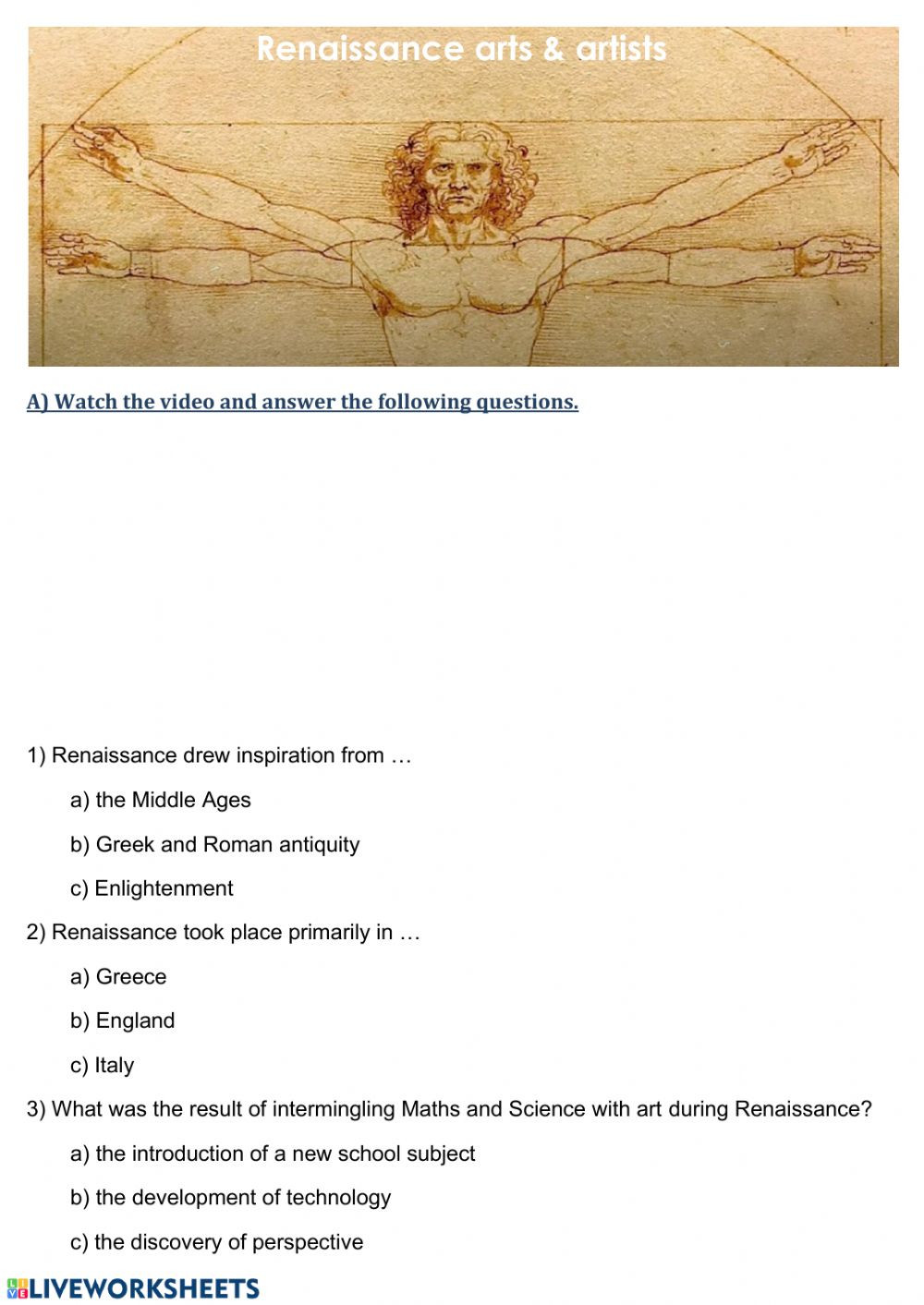 Renaissance Worksheets for Middle School Renaissance Arts and Artists Interactive Worksheet