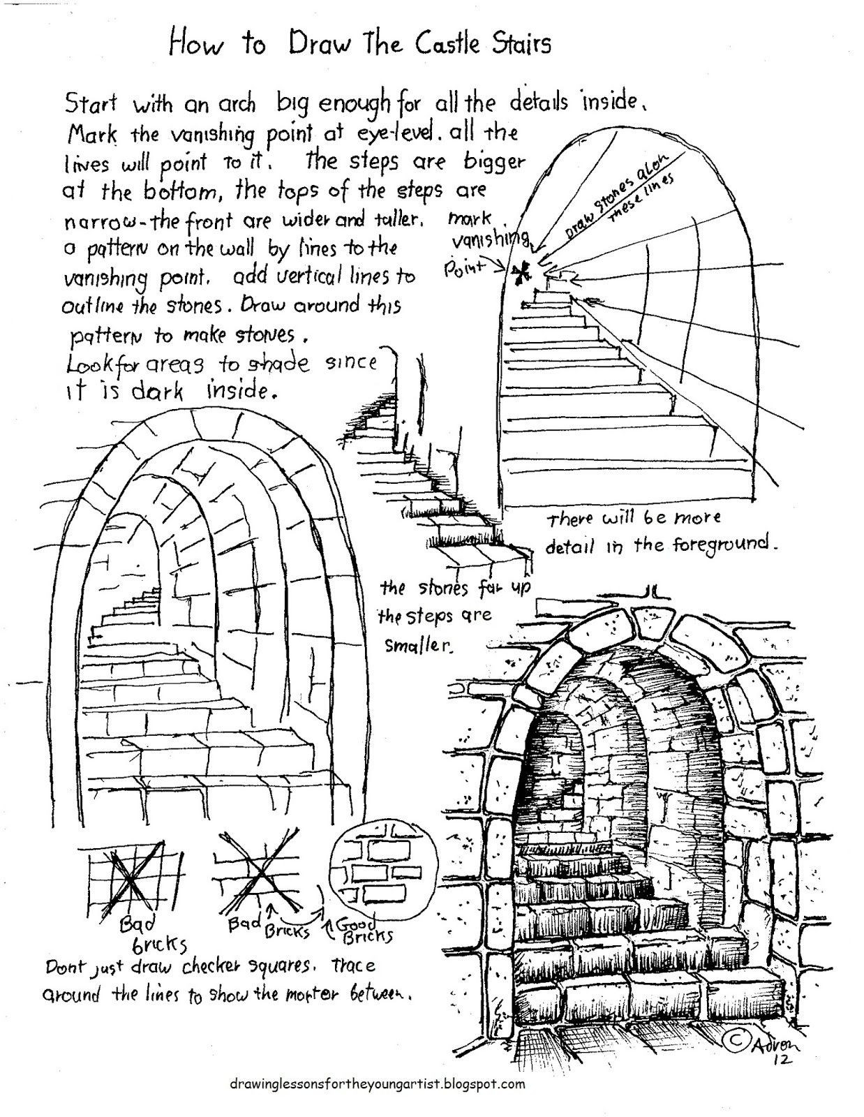 Renaissance Worksheets for Middle School to Draw Stairs Lesson and Worksheet Drawings Drawing