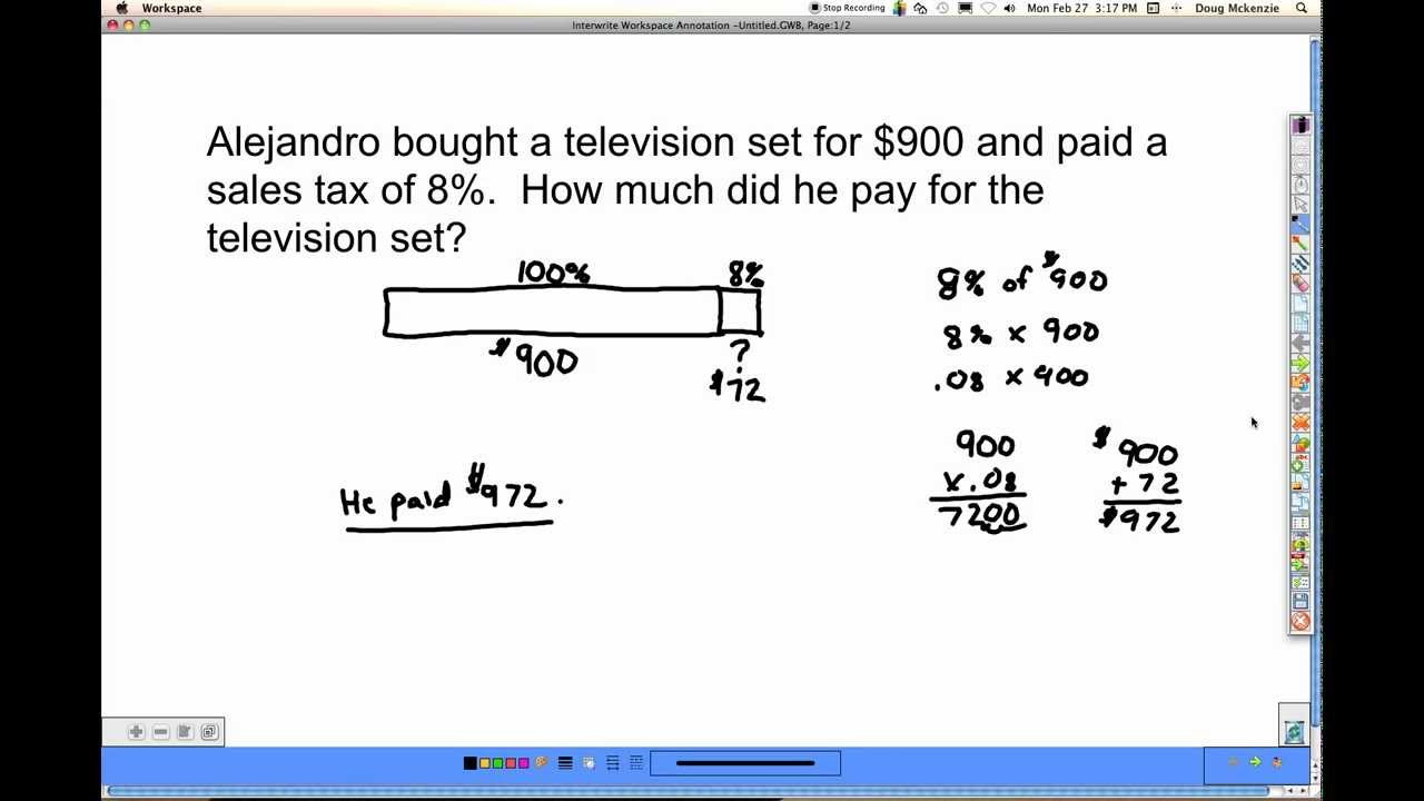 Sales Tax Worksheets 7th Grade Percent Word Problems solutions Examples Videos