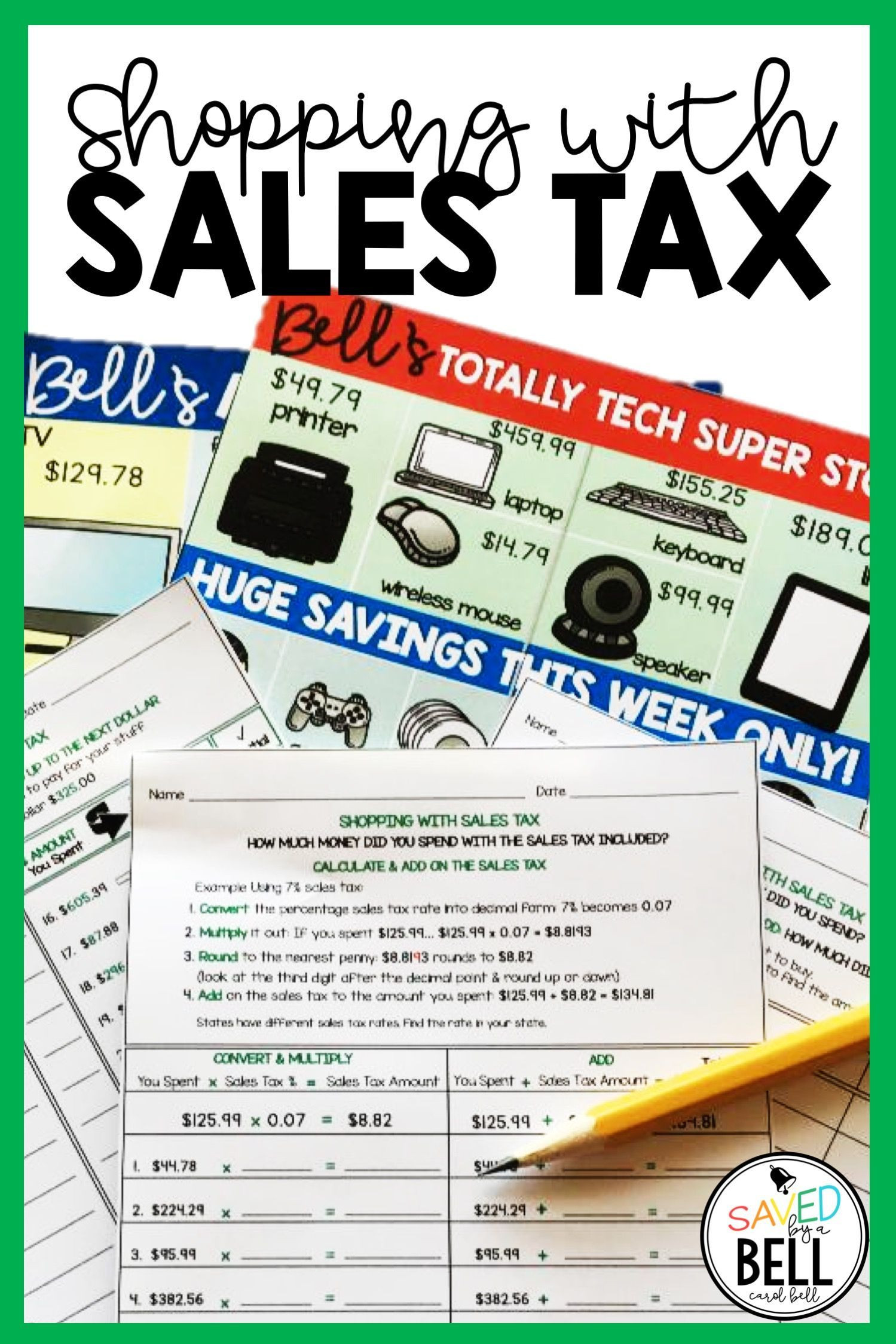 Sales Tax Worksheets 7th Grade Sales Tax Worksheets Edition 2 Distance Learning