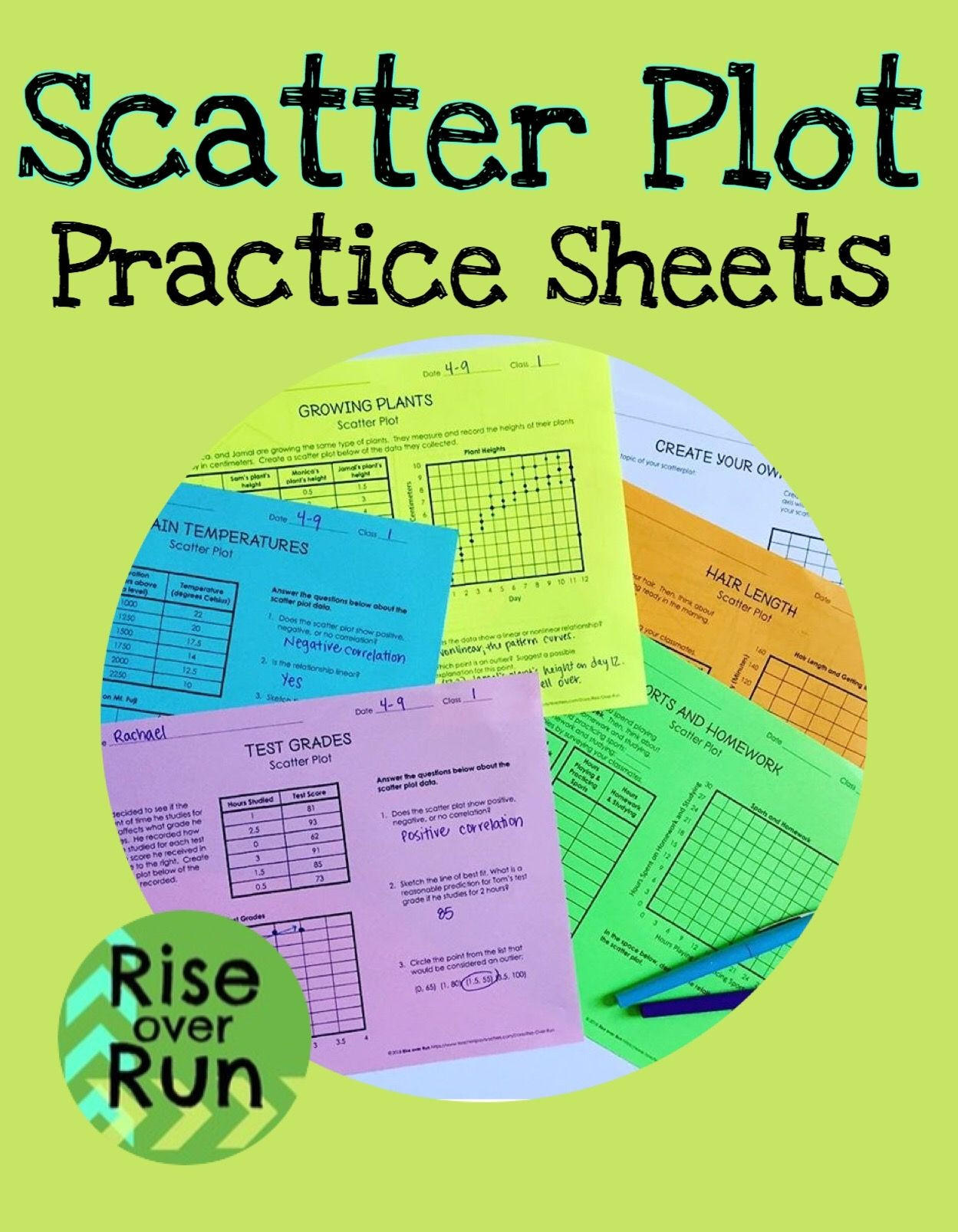 Scatter Plots Worksheets 8th Grade Scatter Plot Practice Worksheets and Blank Template to
