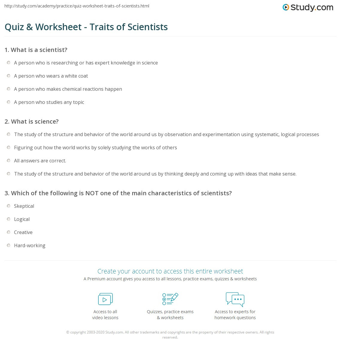Science Fusion Grade 4 Worksheets Quiz & Worksheet Traits Of Scientists