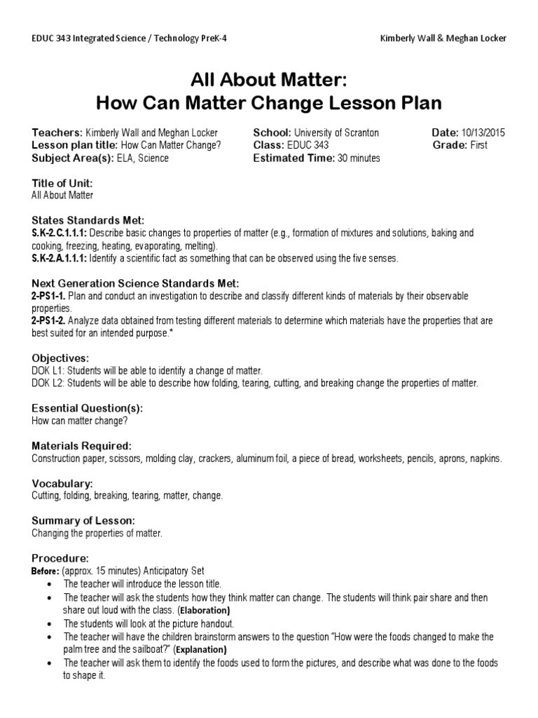 Science Fusion Grade 4 Worksheets Science Fusion First Grade Lesson Plan Kimberly Wall