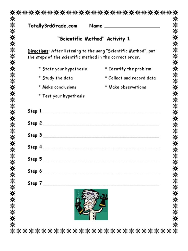 Scientific Method 3rd Grade Worksheet 3rd Grade Scientific Method Worksheet