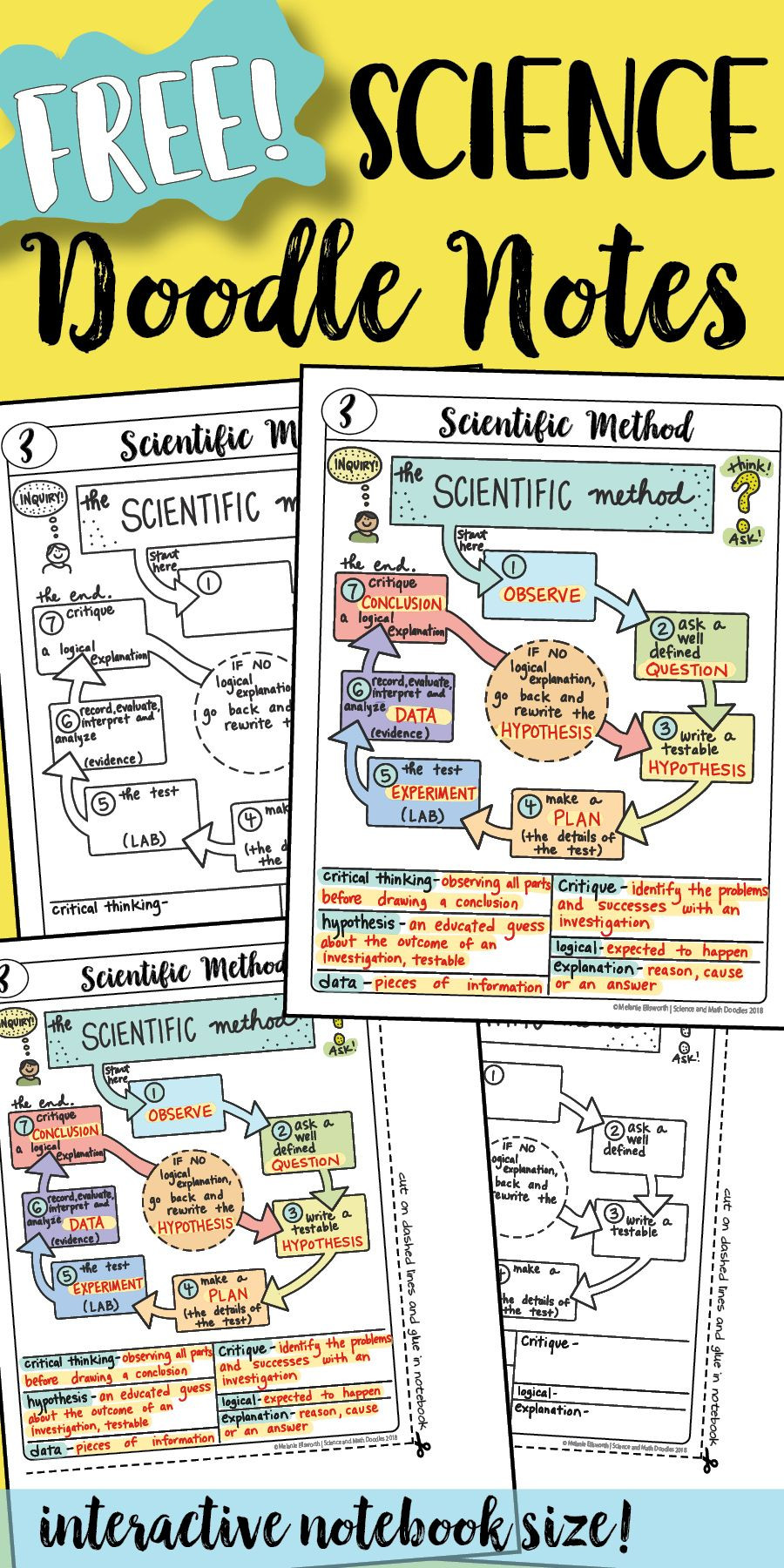 Scientific Method 3rd Grade Worksheet Free Scientific Method Doodle Sheet Easy to Use Notes