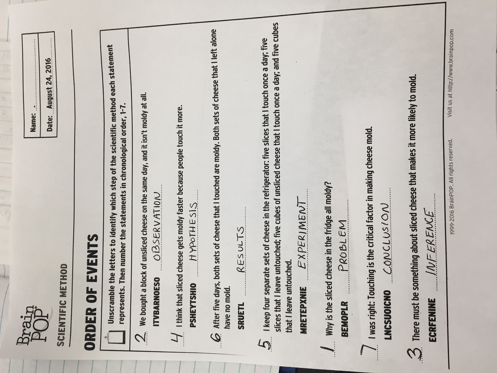 Scientific Method 3rd Grade Worksheet Reading Scientific Method Worksheet
