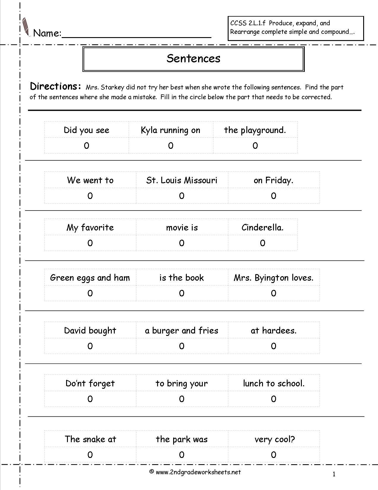 Sentence Correction Worksheets 2nd Grade Correct the Sentence Worksheet
