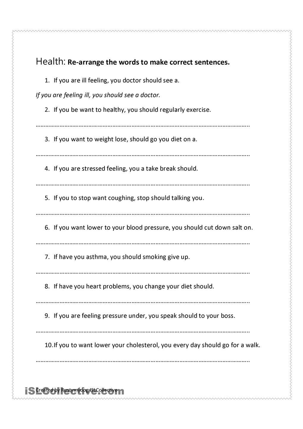 Sentence Correction Worksheets 2nd Grade Health Advice Jumbled Sentences Conditionals
