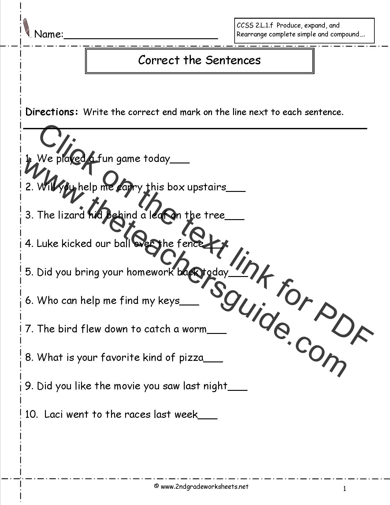 Sentence Correction Worksheets 2nd Grade Second Grade Sentences Worksheets Ccss 2 L 1 F Worksheets