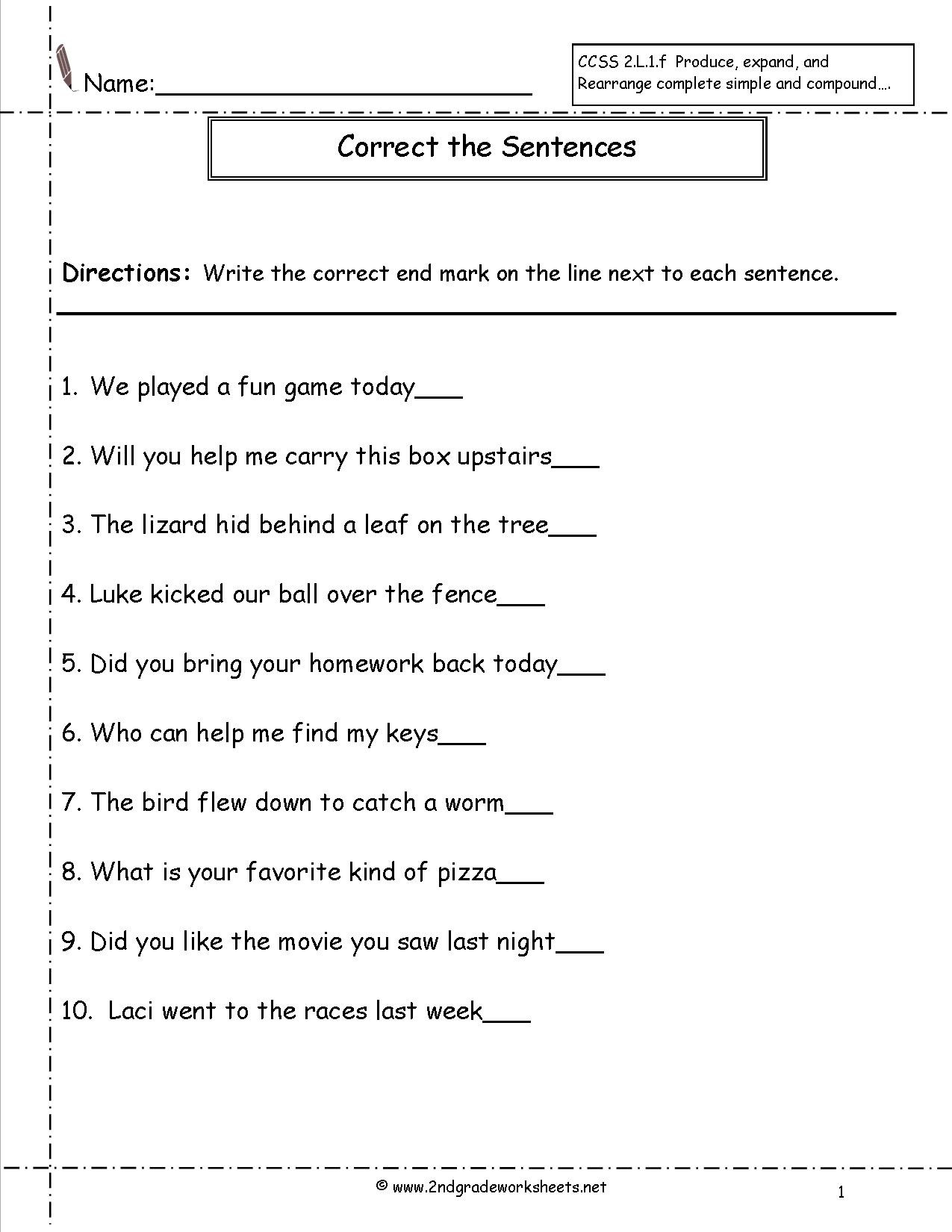 Sentence Correction Worksheets 2nd Grade Sentence Correction Worksheets 6th Grade