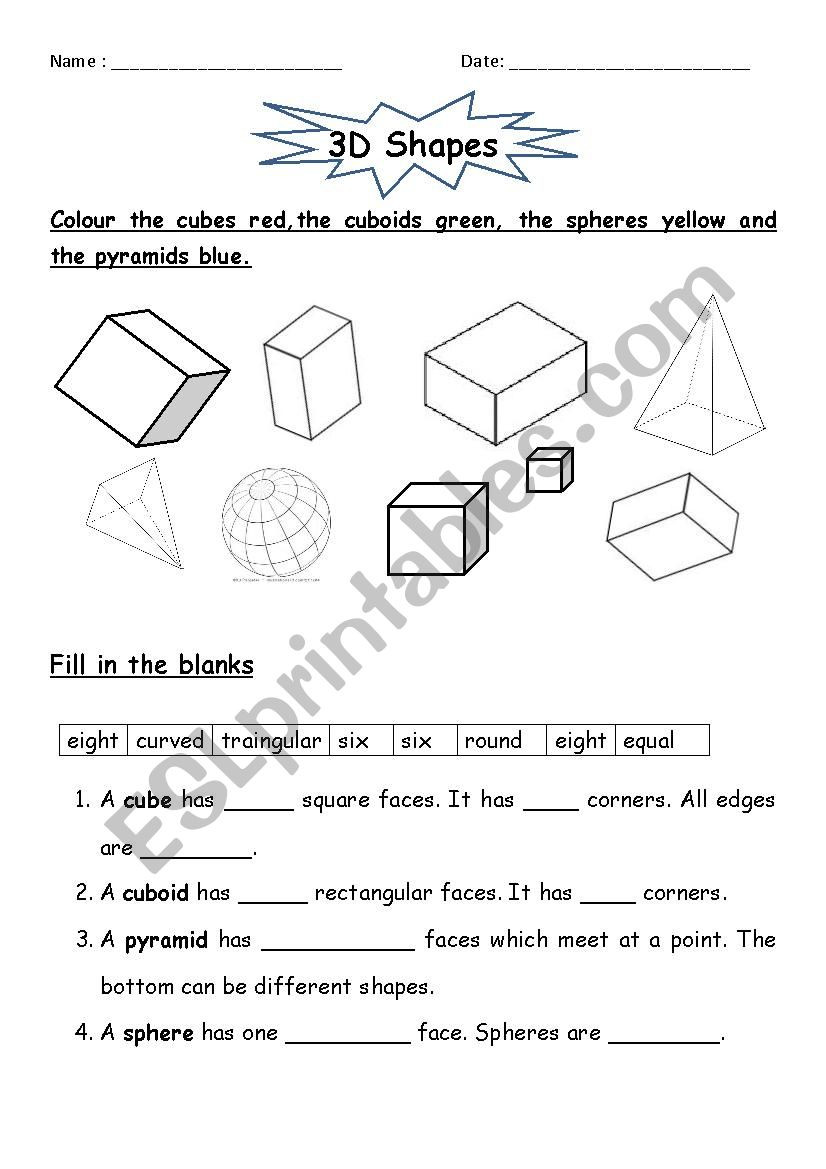 Shapes Worksheets for Grade 2 3d Shapes Esl Worksheet by Jcar0045