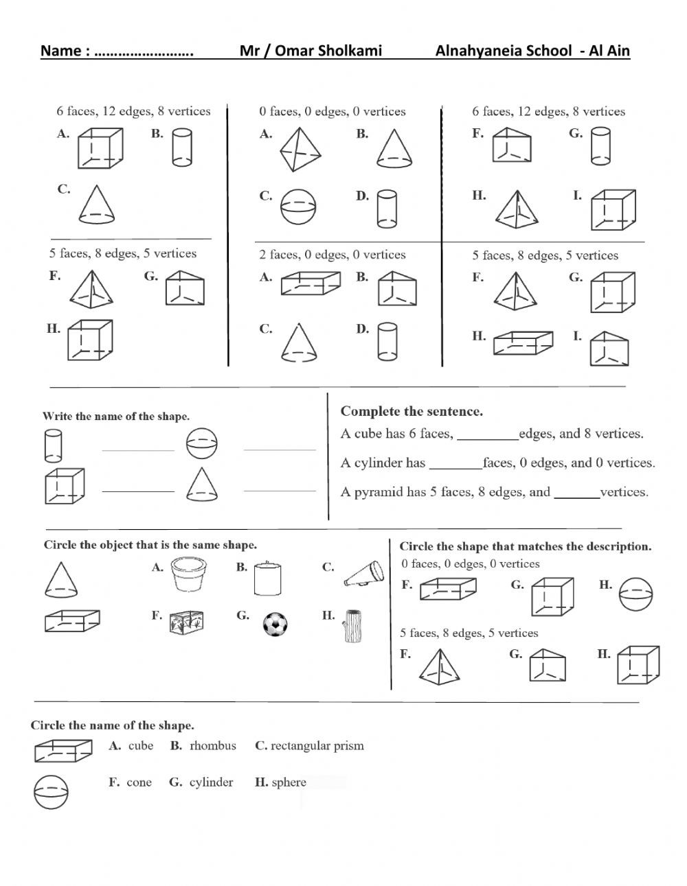 Shapes Worksheets for Grade 2 3d Shapes for Grade 2 Interactive Worksheet