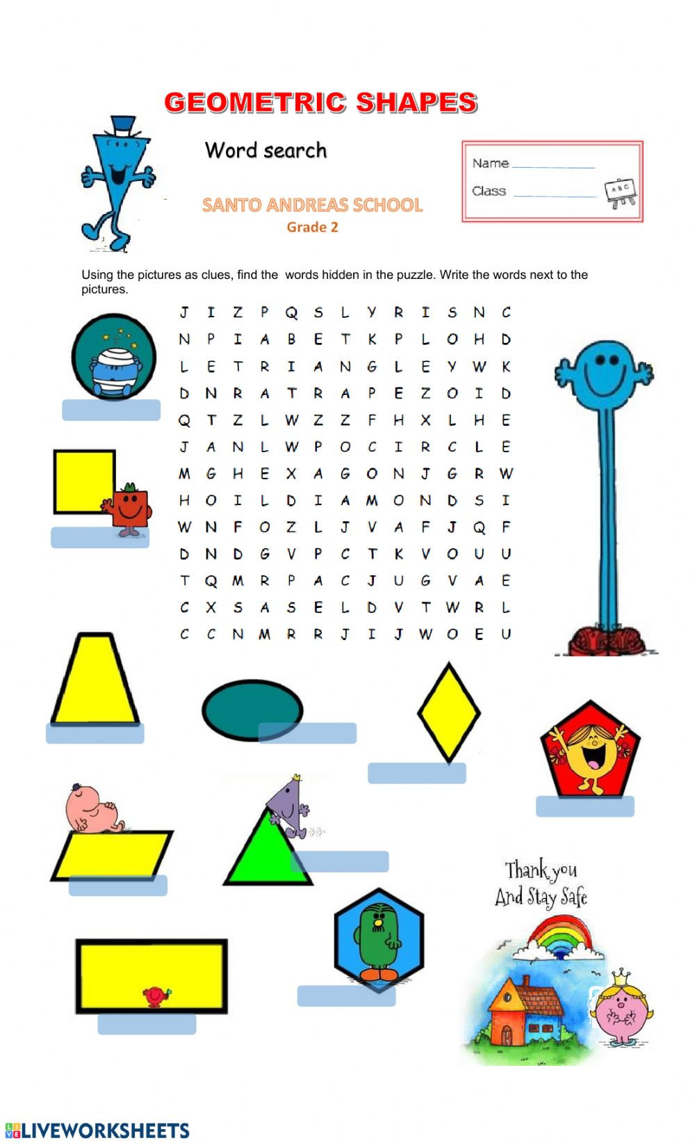 Shapes Worksheets for Grade 2 Geometric Shapes Interactive Worksheet