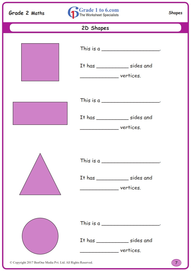Shapes Worksheets for Grade 2 Grade 2 Class 2 Sides & Vertices Worksheets