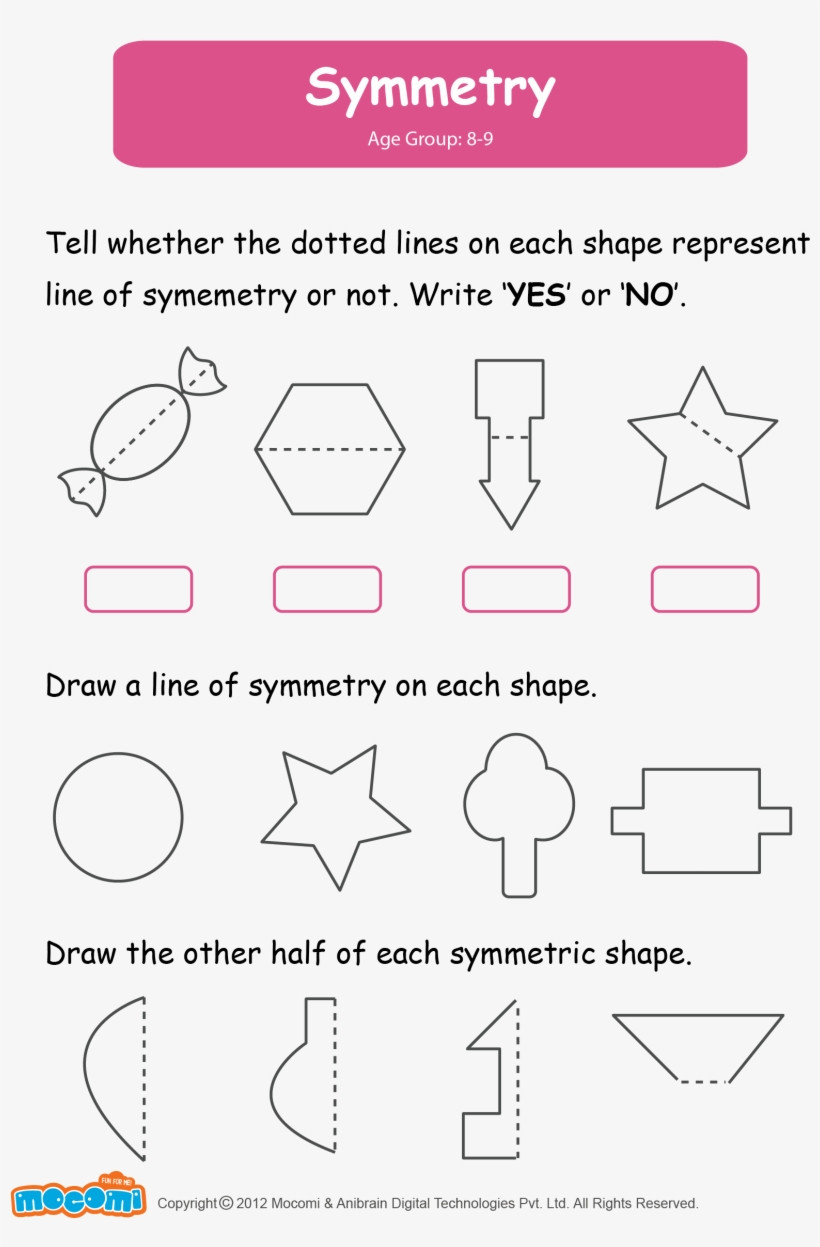 Shapes Worksheets for Grade 2 Math Worksheet for Kids Symmetry Worksheets for Grade 2