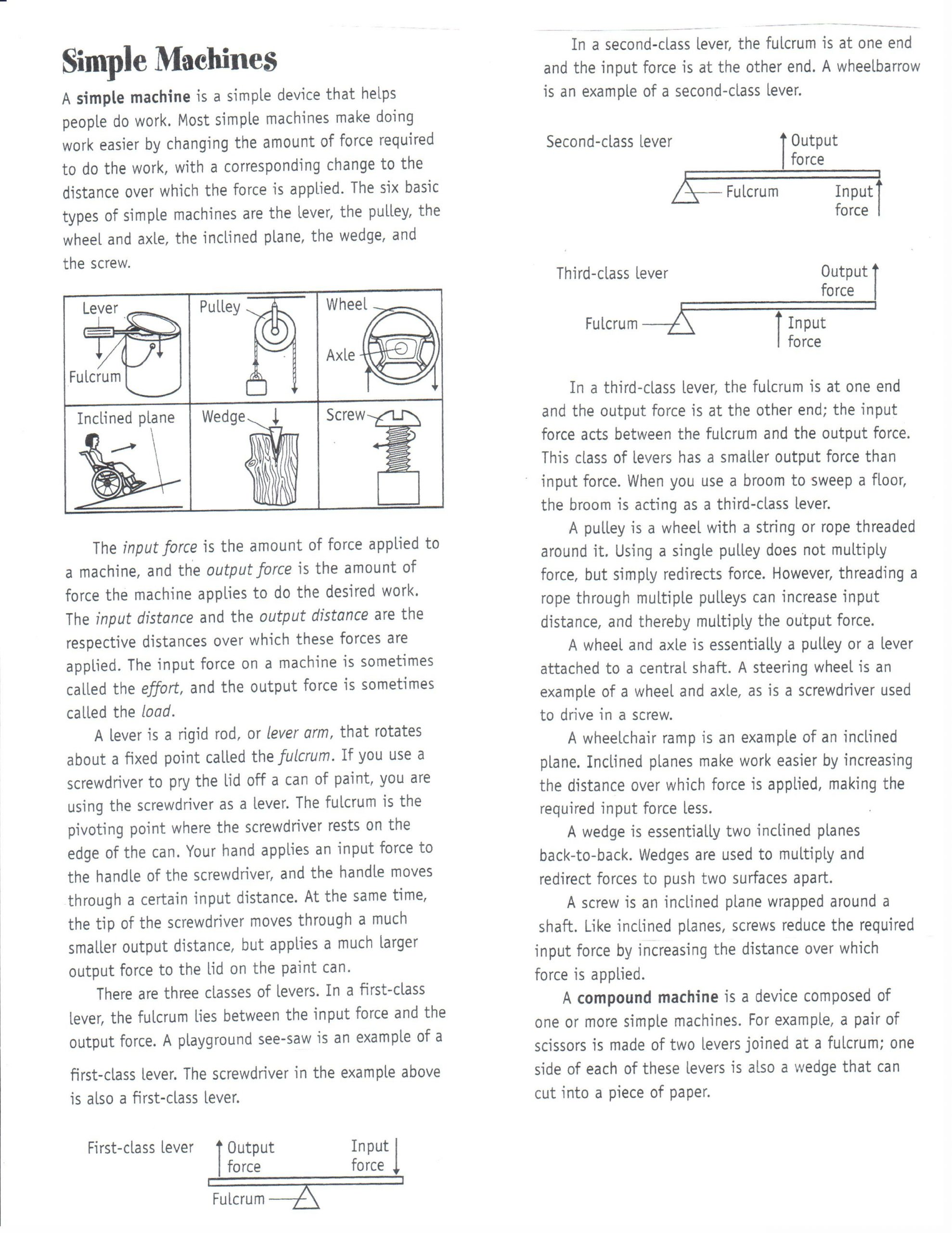 Simple Machine Worksheets Middle School Physical Science Dec 10 14