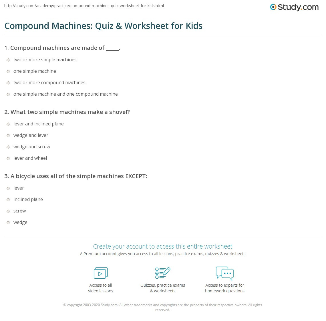 Simple Machine Worksheets Middle School Pound Machines Quiz & Worksheet for Kids