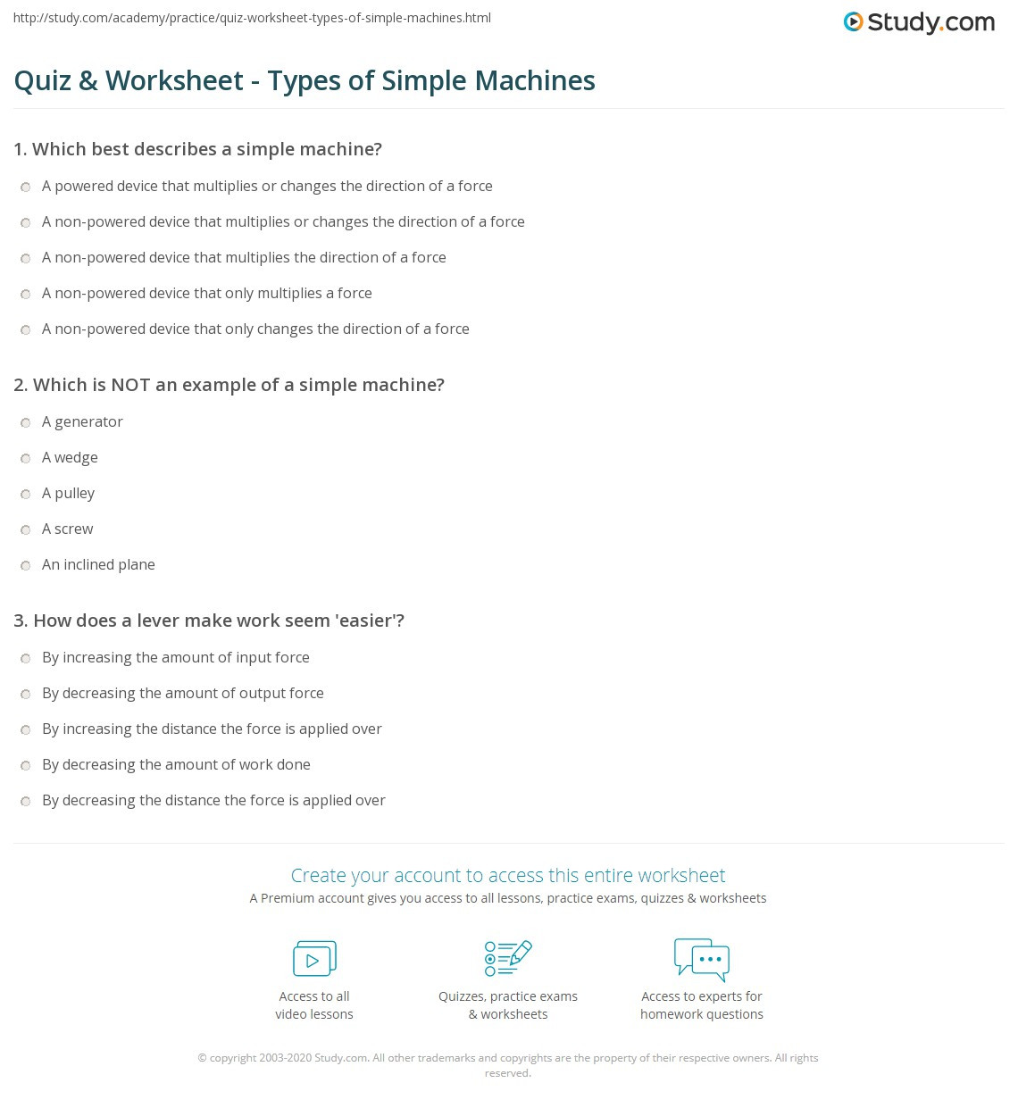 Simple Machine Worksheets Middle School Quiz & Worksheet Types Of Simple Machines