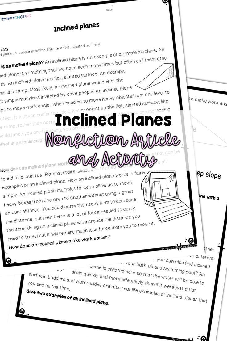 Simple Machine Worksheets Middle School Simple Machines Inclined Plane Reading and Activity