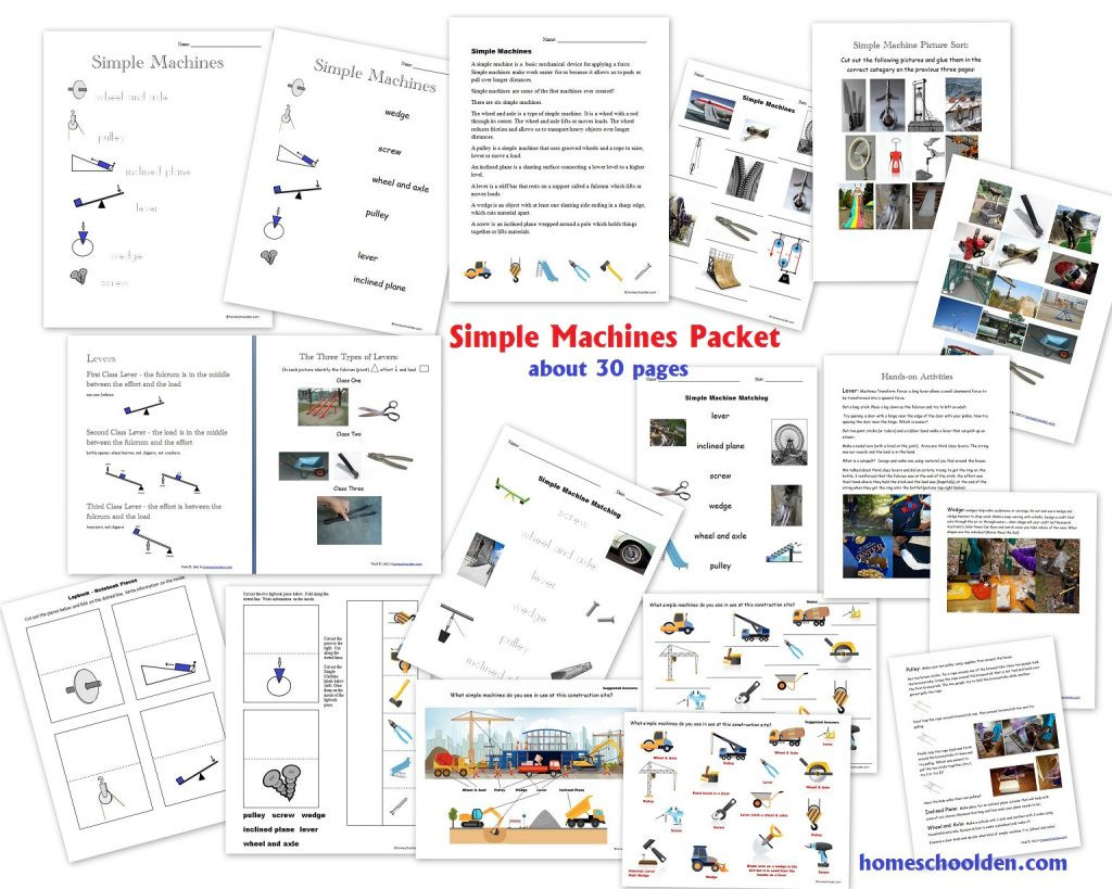 Simple Machine Worksheets Middle School Simple Machines Packet About 30 Pages Homeschool
